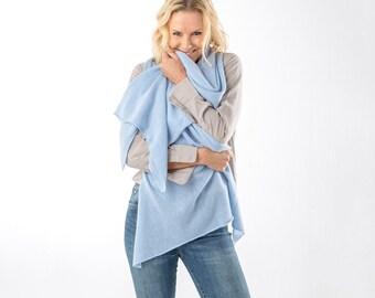 Powder Blue Cashmere Wrap/Blue Cashmere Scarf/Light Blue Cashmere Wrap/Light Blue Cashmere Stole