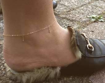 Gold filled anklet with CZ diamonds