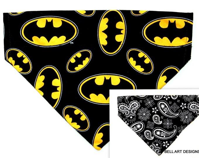 DOG BANDANA ~ Batman ~ Over the Collar ~ Reversible ~ Bell Art Designs ~ Medium ~ DCM0701