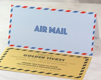 Surprise your loved one with our Airmail card with personalised ticket - anniversary card - wedding card - engagement card - birthday card
