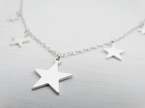 Silver Stars Necklace, Sterling Silver, 5 Stars, Frosted Finish