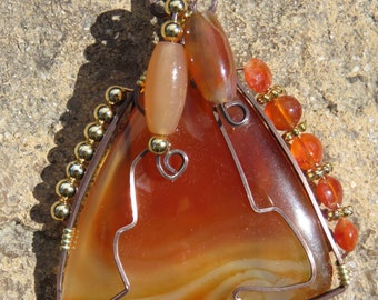 C-20 Carnelian Wirewrapped Pendant, Carnelian Pendant, Carnelian Necklace, Gemstone Pendant, Gemstone Necklace, Wirewrapped Necklace