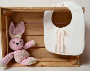 White bib with striped pink bunny
