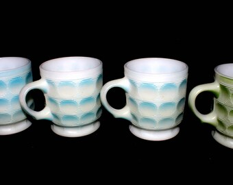 RARE set of 4 Camelot pattern fire king coffee mugs 3 blue 1 green shipping included within Canada and U.S.A