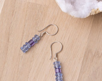 Blue bead earrings with purple Swarovski cubes | Blue jewellery | Crystal jewelry | Blue dangle earrings | Bead stack faceted earrings