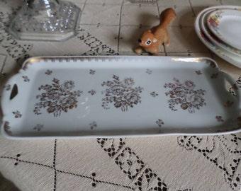 "Vintage Porcelaine France-Hand Painted-White and Gold Roses Design Porcelain Dresser or Serving Tray-13"" x 5 3/4"""