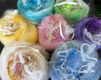 Spinning fiber mini BABY BATTS 1-1.25 oz. each in a variety of soft pastel colors Energize your creativity and spin something new & exciting