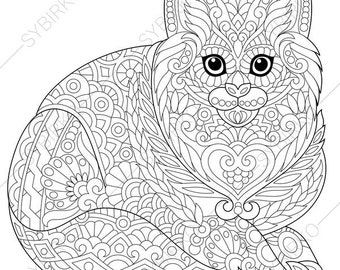 Cat. Kitten. Coloring Page for National Pet day greeting cards. Animal coloring book pages for Adults. Instant Download Print