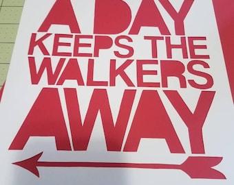 An Arrow a Day Keeps The Walkers Away, papercut, decoration, decor, wall art, paper art, home decor, arrow, zombie, walkers, walking dead