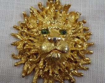 "Rare Vintage Massive Lion's Head Tancer II 24"" Statement Necklace with Gripoix Eyes"