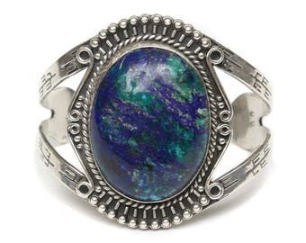 sterling silver navajo cuff • blue & green azurite extra large stone