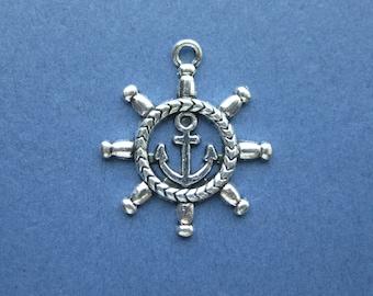 10 Ship Wheel Charms - Ship Wheel Pendant - Ship Wheel - Anchor Charm - Antique Silver - 26mm x 23mm -- (No.132-10713)
