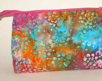 BRIGHT and COLORFUL BATIK Floral 100% cotton fabric Cosmetic Bag, gift bag with full width opening and nylon zipper closure
