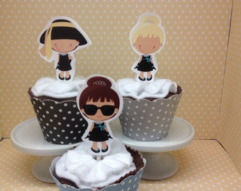 Breakfast at Tiffanys Party Cupcake Topper Decorations - Set of 10
