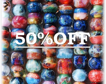 Destash lampwork boro beads (16) SALE 50% off, borosilicate glass beads, Sale Beads, Mixed Lot, Destash Bead Mix, Assorted Lot, soap, D4 SRA