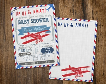 Up Up & Away Baby Shower Invitation