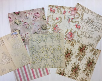 7 Vintage Wedding Wrapping Papers, Vintage Wedding Gift-wrap, Bridal Wrapping Paper, 1940s-1950s