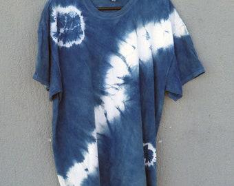 Indigo Hand Dyed Shibori T-Shirt