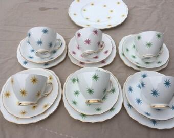 Vintage Royal Vale RARE stars 19pc tea cup set