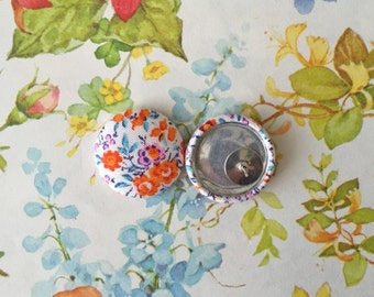Button Earrings / Wholesale Jewelry / Fabric Covered / Small Gifts for Her / Orange and Pink / Hypoallergenic Stud Earrings / USA Made