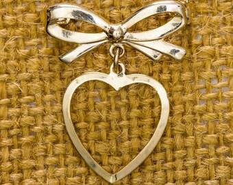 Gold Bow and Dangling Heart Brooch Vintage Thin Dainty Shiny Broach Vtg Pin 7JJ