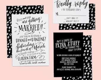 Typography Wedding Invitation Suite | Custom Wedding Lettering | Black and White Hand Written Invites | Entirely Custom Invitation Design