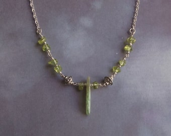 Green Kyanite and Peridot Necklace
