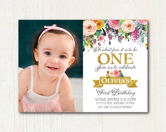 Gold 1st Birthday Photo Invitation | Floral 1st Birthday Photo Invitation, 1st Birthday, Invite, Digital, 1573