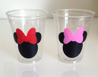 12 Minnie Mouse Party Cups- Red/Pink Bows, Minnie Mouse Birthday Cups, Mickey Mouse, Mickey Mouse Clubhouse, Minnie Mouse Birthday Party