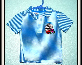 Boys Rockabilly Day of Dead Polo Shirt....size 18-24 months