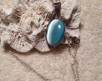 "Turquoise Cats Eye Sterling Silver Pendant 1.12"" Long .5"" Wide on Sterling Silver 18.25"" Chain Previously 35 Dollars ON SALE"