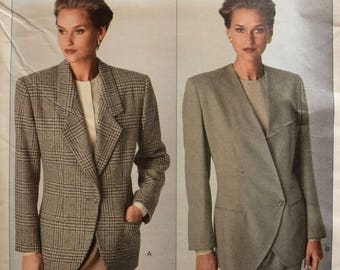CALVIN KLEIN Vogue 2393 Sewing Pattern Loose Fitting Jacket Asymmetrical Closure Option 1980s American Designer UNCUT Size 12-14-16