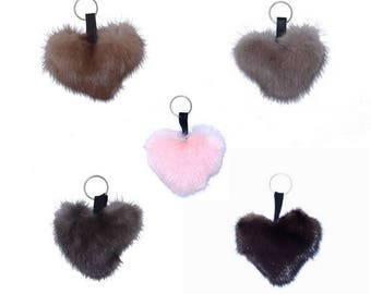 Mink heart keychain - color of your choice