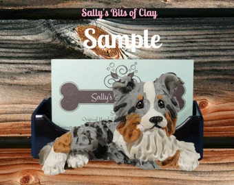 Tan Point Tri Blue Merle Collie Business Card Holder / Iphone / Cell phone / Post it Notes OOAK sculpture by Sally's Bits of Clay