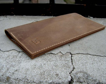 Distressed leather checkbook wallet with card slots Leather checkbook cover