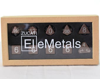 Zucati Dice EleMetal™ Aluminum Polyhedral Set of 10 - Seattle Coffee