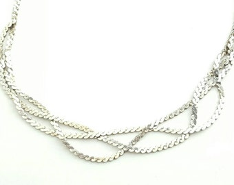 Fancy Vintage Sterling Silver Multistrand Braided Serpentine Chain Necklace-18 Inch