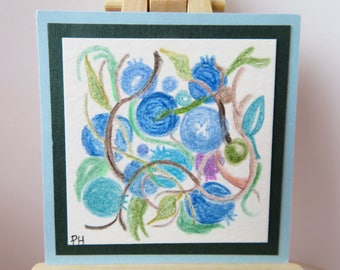 """Blueberries Miniature Painting Original Colored Pencil 2"""" wide X 2"""" tall for dollhouse or collecting"""