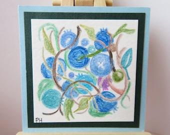 """Crayon de couleur Original de peinture Miniature bleuets 2"""" de large X 2"""" de hauteur pour maison de poupée ou de collecte"""