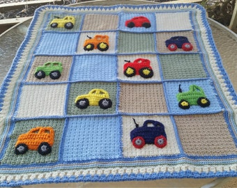 crochet baby blanket, car applique blanket, tractor applique blanket,boy crochet bedding,car nursery bedding, crib bedding,cars wall hanging