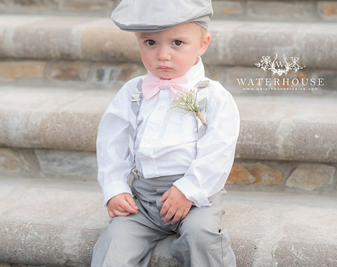 Ring Bearer Outfit; 4 Piece Set, Ring Bearer Bow Tie, Suspenders, Newsboy Hat and Pants handmade by TwoLCreations