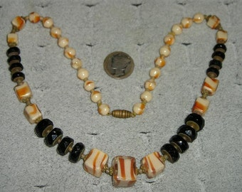 SALE Vintage Necklace Caramel Candy Swirl And Black Glass 1920's Jewelry 2061