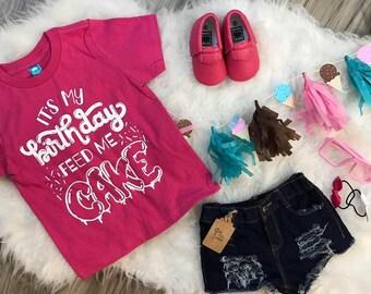 It's My Birthday Feed Me Cake Kid's Trendy Tee Or Bodysuit Baby Toddler Boy Girl Clothing