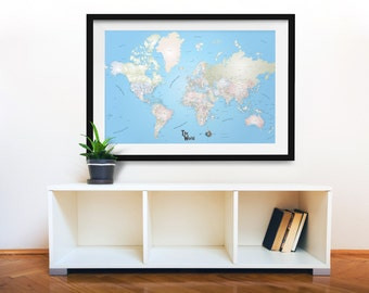 "World Travel Map, Foam Board Push Pin Travel Map, World Map, Pushpin Travel Map, 36""x24"""