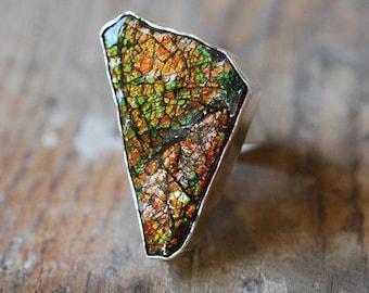 Dragon Skin Ring Red Ammolite
