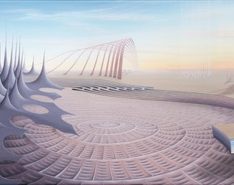 """Surreal art print, biological and scientific painting. Science art. Surrealism. Radiolaria. Trippy art. """"Delicate Expanse""""."""