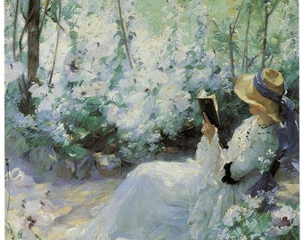 Hand-cut wooden jigsaw puzzle. WOMAN IN SOLITUDE. Frank Bramley. Impressionist. Impressionism Wood, collectible. Bella Puzzles.