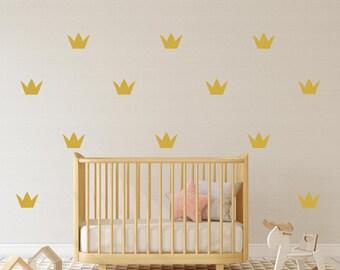Gold Crown Wall Sticker, Set of 40/28 Decals, Crown Pattern, Girls Nursery, Gift Ideas, Princess Crown Decals, Crown Wall Sticker