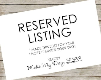 RESERVED - NO SHIPPING (must be picked up) Exterior Yard Sign