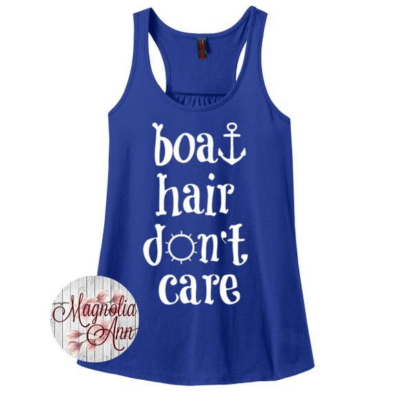 Boat Hair Don't Care, Ocean, Cruise, Summer, Women's Racerback Tank Top in 9 Colors in Sizes Small-4X, Plus Size